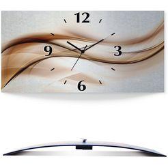 artland wandklok bruine abstracte golf 3d-look gebogen, zilver-metallic, geluidloos, zonder tikkende geluiden, niet tikkend, geruisloos - naar keuze: radiografische klok of kwartsklok, moderne klok voor woonkamer, keuken etc. - stijl: modern bruin