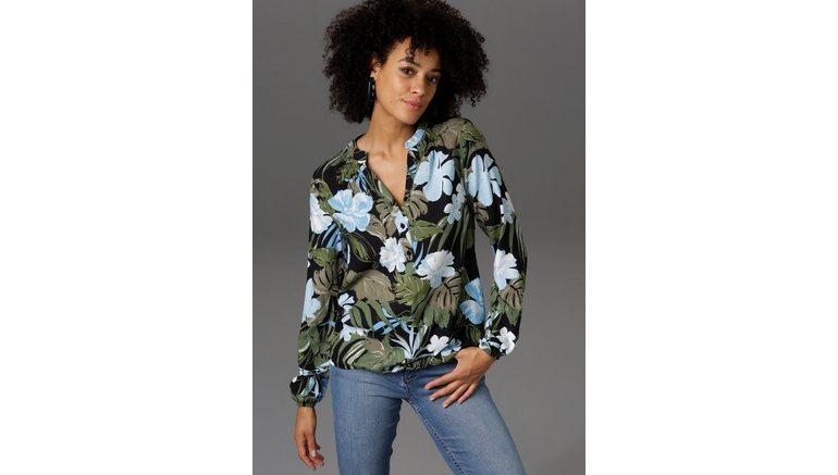 Aniston CASUAL blouse zonder sluiting met bloemen en bladeren gedessineerd – nieuwe collectie