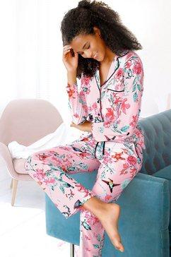 vivance dreams pyjama in klassiek model met reverskraag roze