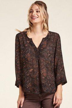 nile gedessineerde blouse met elegante hals in casual model, duurzaam grijs