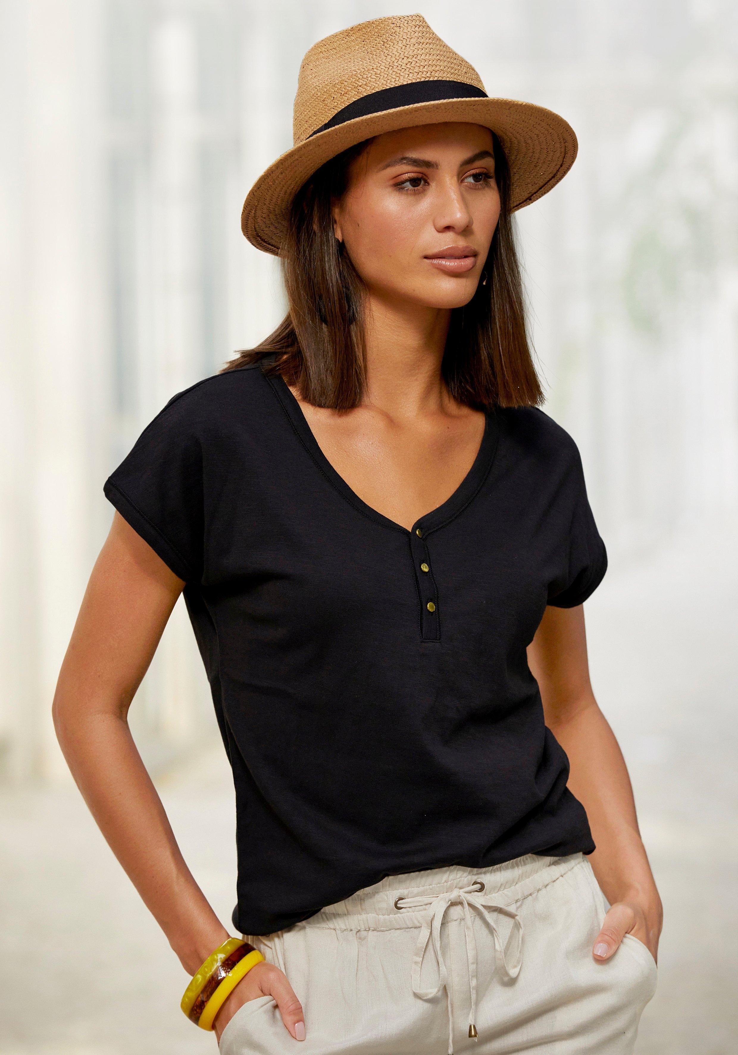 Vivance T-shirt met knoopsluiting en goudkleurige knopen (Set van 2) nu online kopen bij OTTO