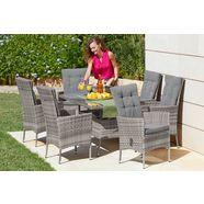 konifera tuinmeubelset »belluno« 13-delig, 6 fauteuils, tafel 150x 80 cm, poly-rotan grijs