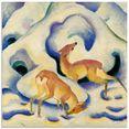 artland print op glas reen in de sneeuw. 1911. (1 stuk) wit