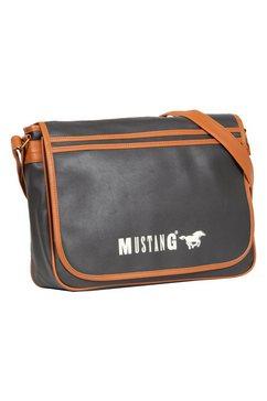 mustang messengerbag milan met logoprint zwart